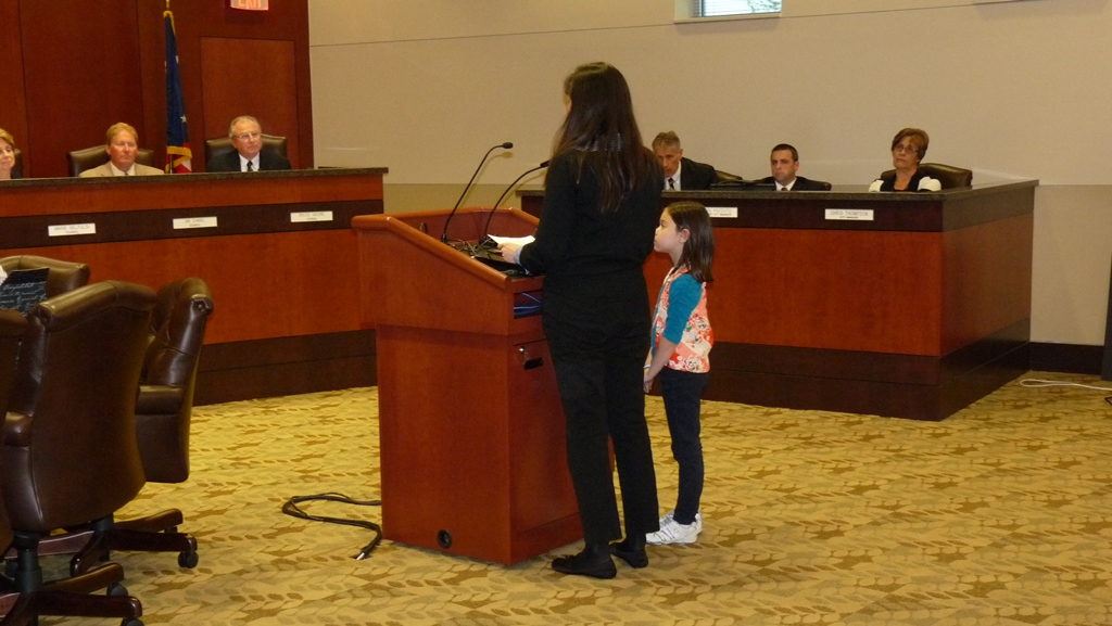 Emiko and Miya addressing the Springboro City Council